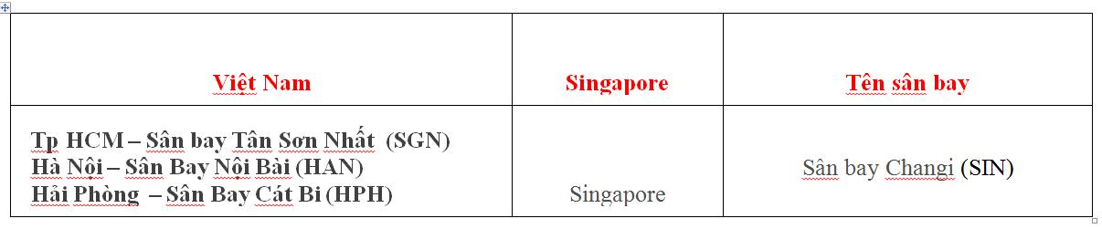 Dịch Vụ Vận Chuyển Hàng Không Đi Singapore